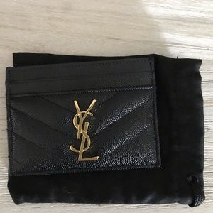 like new authentic YSL card carrier black caviar